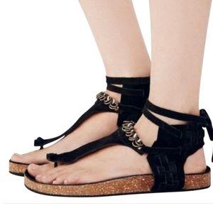 Free People black collins footbed tie sandals 36